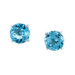 Sterling Silver Genuine Blue Topaz 8mm Round Solitaire Earrings