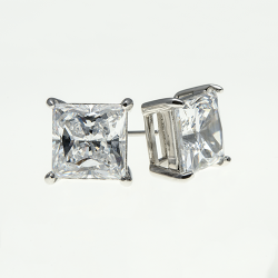 Sterling Silver 9x9mm Cubic Zirconia Princess Cut  Solitaire Earrings