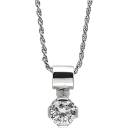 Sterling Silver Cubic Zirconia  Round Solitaire Pendant