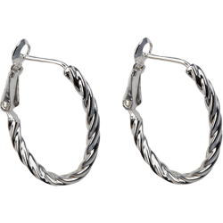 Sterling Silver 20mm Twisted Oval Hoop Earrings