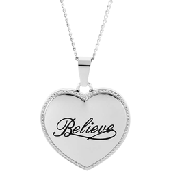 Stainless Steel Believe Puffed Heart Pendant Engravable