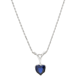 Sterling Silver 8mm Heart Shape Blue Sapphire Solitaire Pendant With Chain