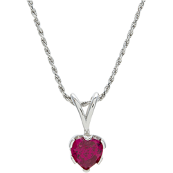 Sterling Silver 8mm Ruby Heart Solitaire Pendant with Chain