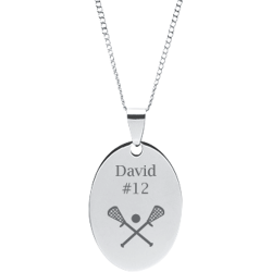 Stainless Steel Personalized Engraved Lacrosse Oval Pendant