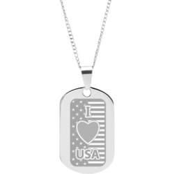 Stainless Steel Personalized Engraved I Love USA Flag Pendant